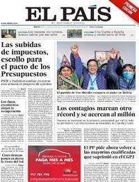 Portada El País 2020-10-20