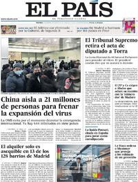 Portada El País 2020-01-24