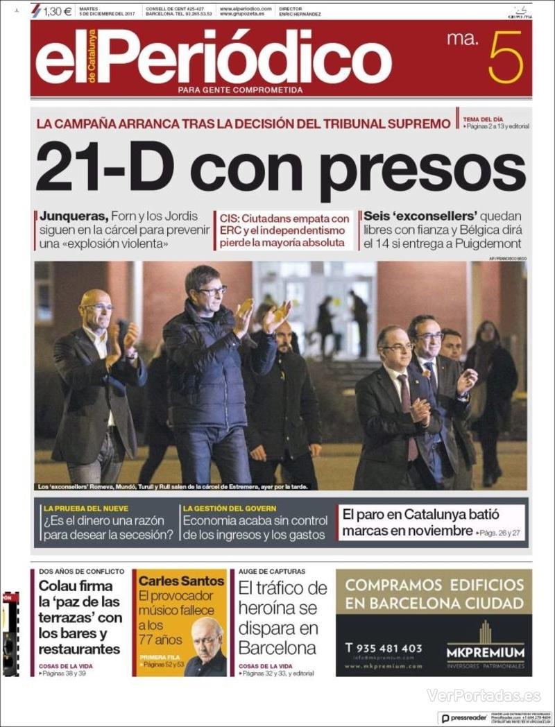 Periódico El Periódico Edición De Martes 5 De Diciembre De