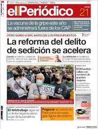 Portada El Periódico 2020-09-21