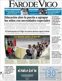 Portada Faro de Vigo 2020-09-24