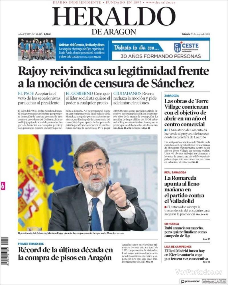 Portada Heraldo de Aragón 2018-05-26