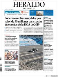Portada Heraldo de Aragón 2018-09-25