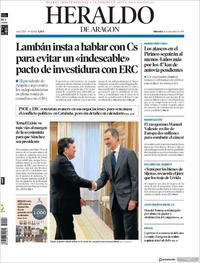 Portada Heraldo de Aragón 2019-12-11
