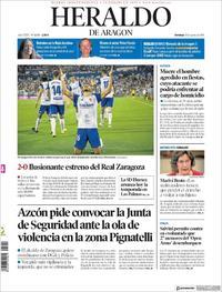 Portada Heraldo de Aragón 2019-08-18