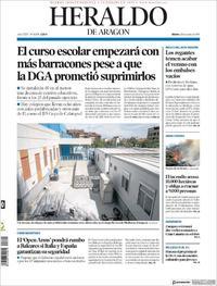 Portada Heraldo de Aragón 2019-08-20