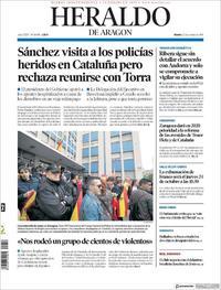 Portada Heraldo de Aragón 2019-10-22