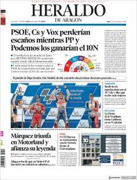 Portada Heraldo de Aragón 2019-09-23