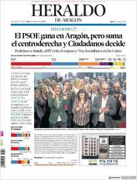 Portada Heraldo de Aragón 2019-05-27