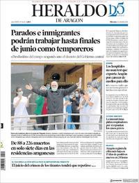 Portada Heraldo de Aragón 2020-04-08