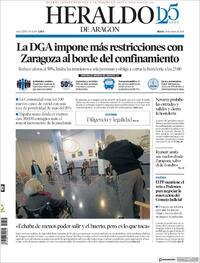 Portada Heraldo de Aragón 2020-10-20