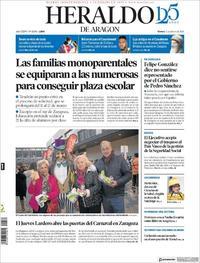 Portada Heraldo de Aragón 2020-02-21