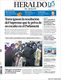 Portada Heraldo de Aragón 2020-01-24