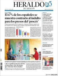 Portada Heraldo de Aragón 2020-09-24