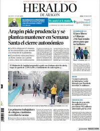 Portada Heraldo de Aragón 2021-03-04