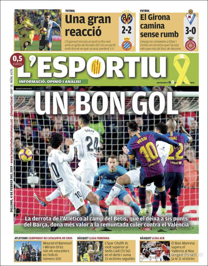 Portada L'Esportiu 2019-02-05
