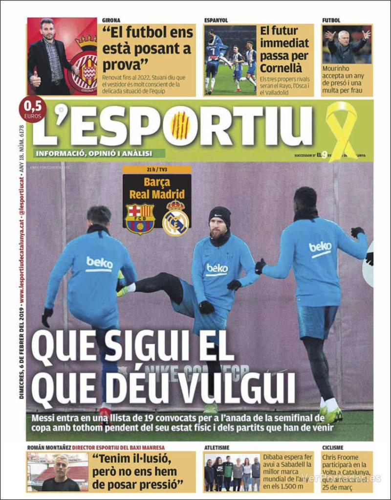Portada L'Esportiu 2019-02-07