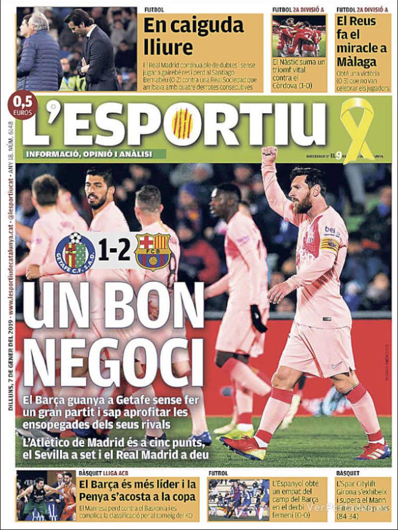 Portada L'Esportiu 2019-01-08