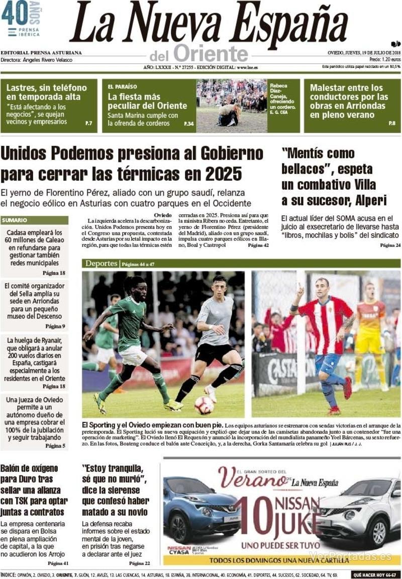 Portada La Nueva España 2018-07-19