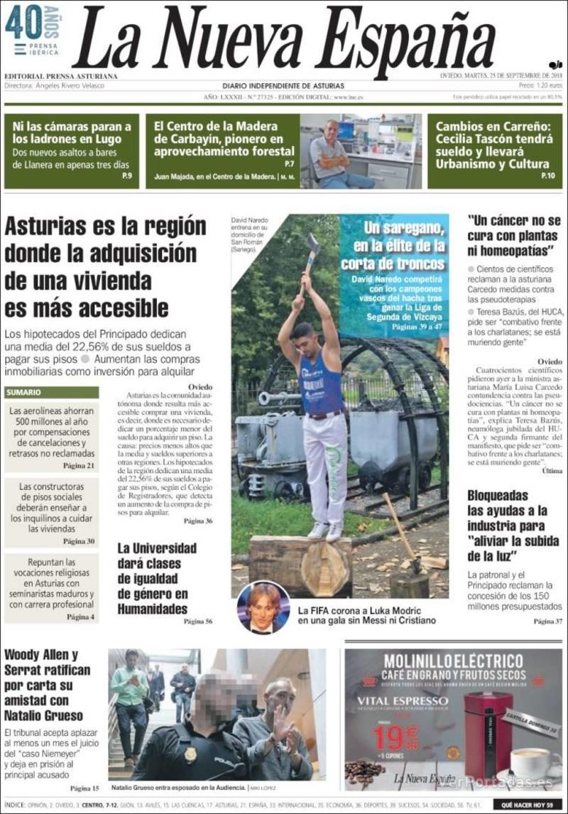 Portada La Nueva España 2018-09-25