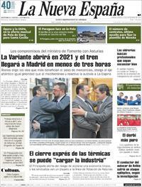 Portada La Nueva España 2018-11-15