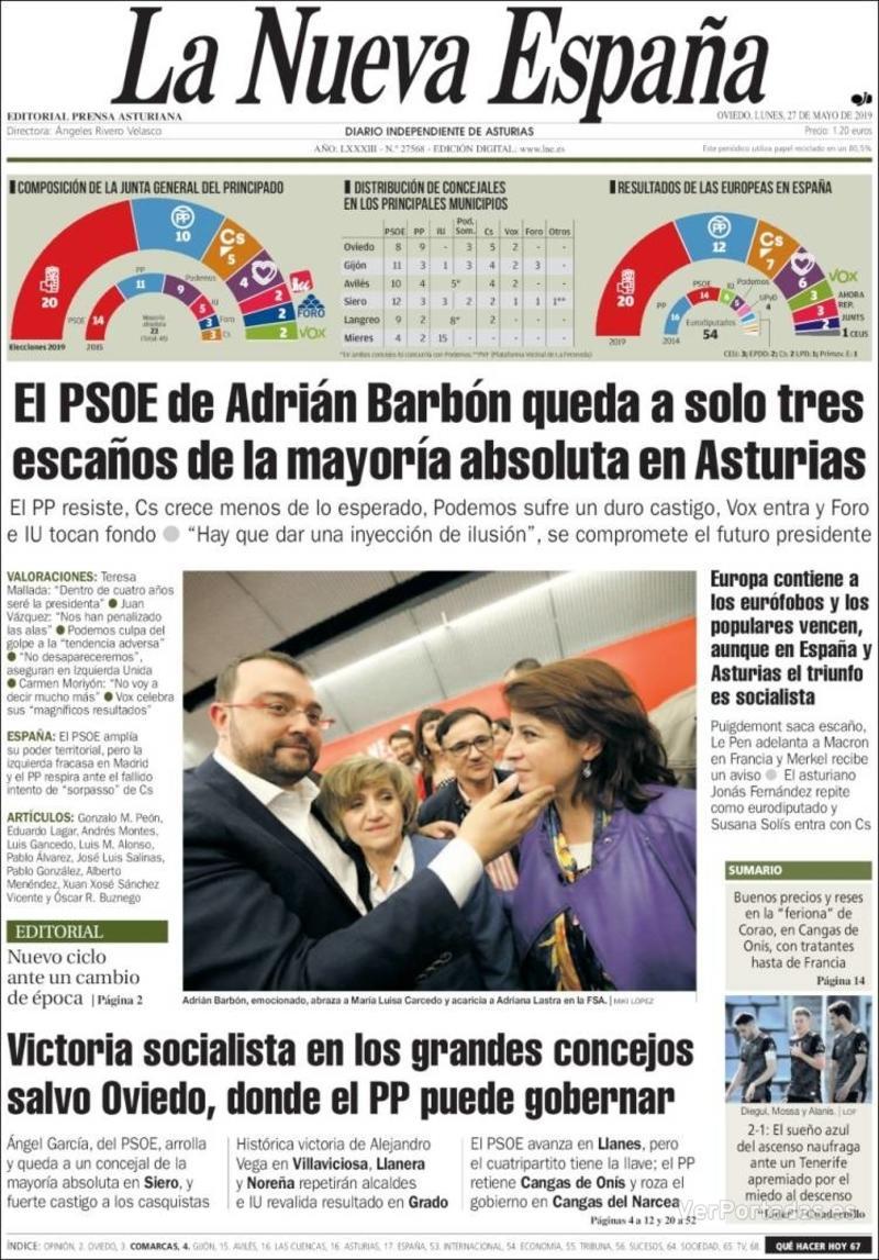 Portada La Nueva España 2019-05-27