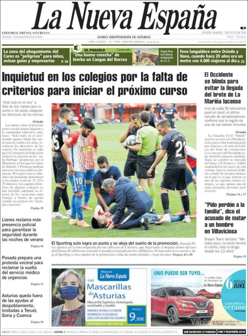 Portada Heraldo de Aragón 2020-07-07