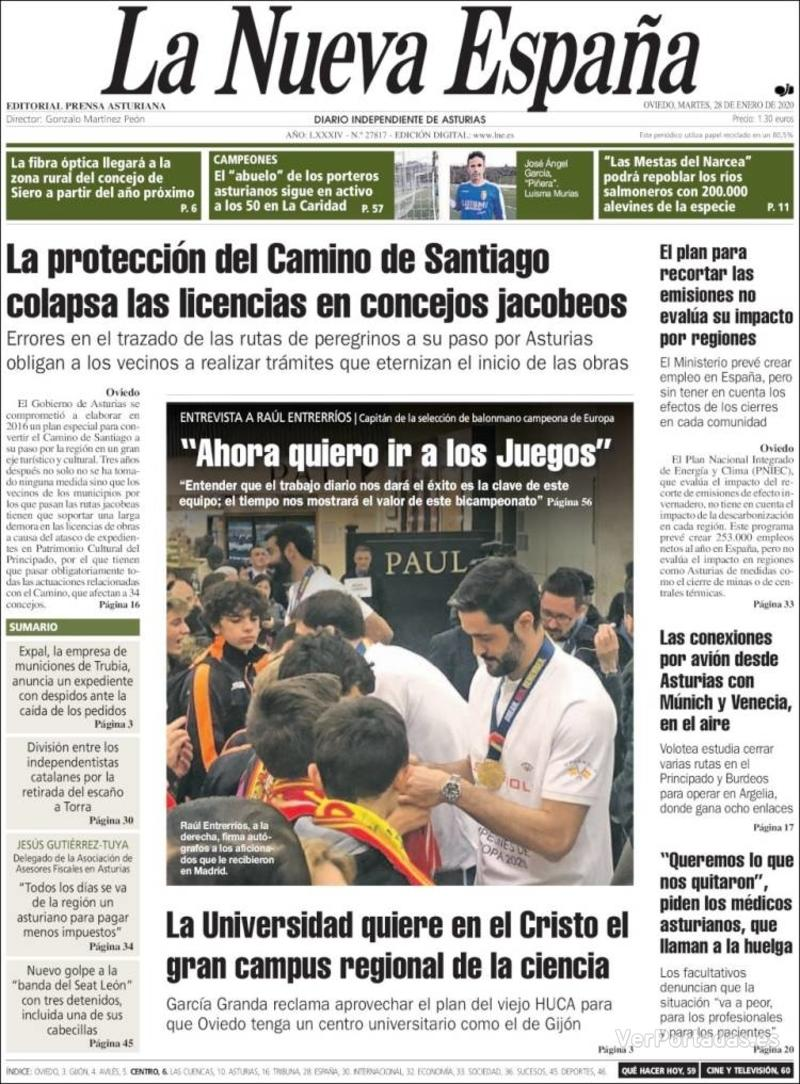 Portada Heraldo de Aragón 2020-01-28