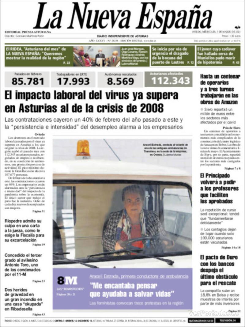 Portada Heraldo de Aragón 2021-03-03
