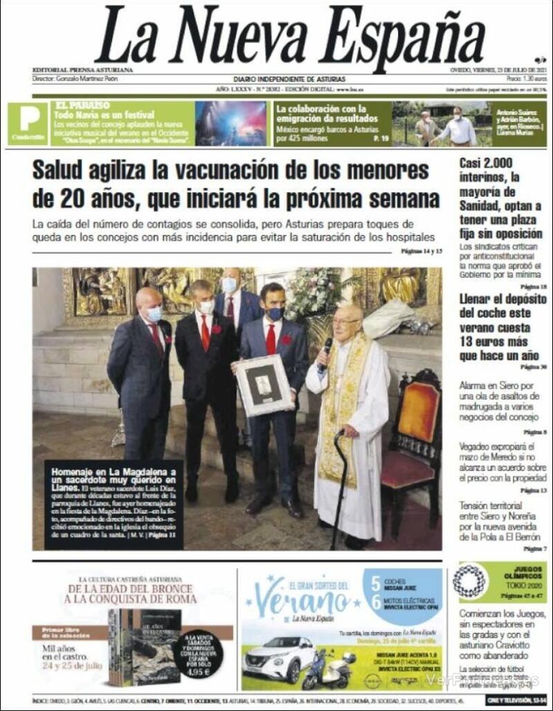 Portada Heraldo de Aragón 2021-07-23