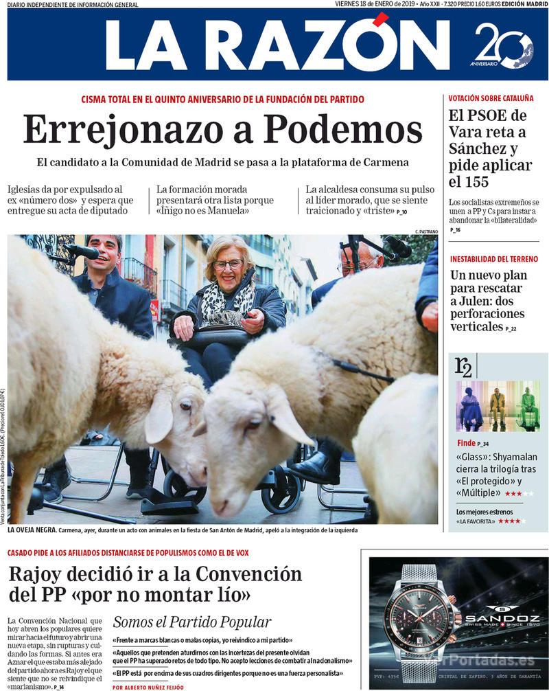 Portada La Razón 2019-01-18