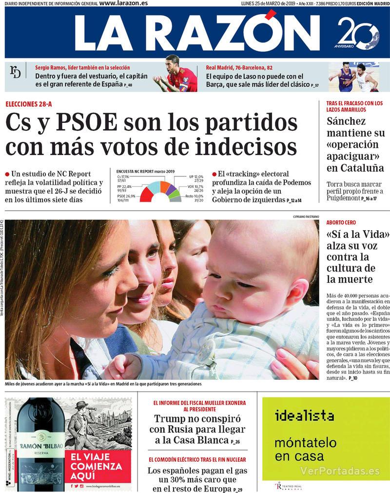 Portada La Razón 2019-03-25