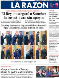 Portada La Razón 2019-12-11