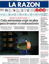 Portada La Razón 2020-04-08