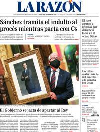 Portada La Razón 2020-09-24