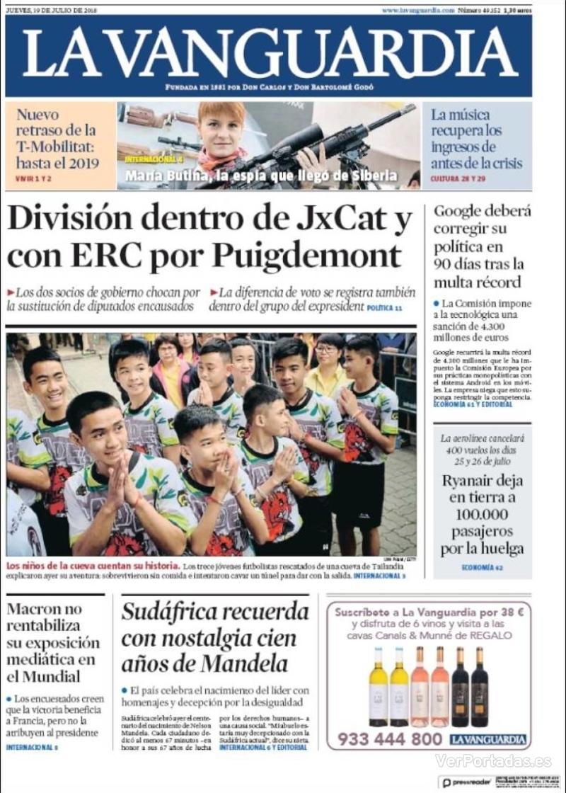 Portada La Vanguardia 2018-07-19