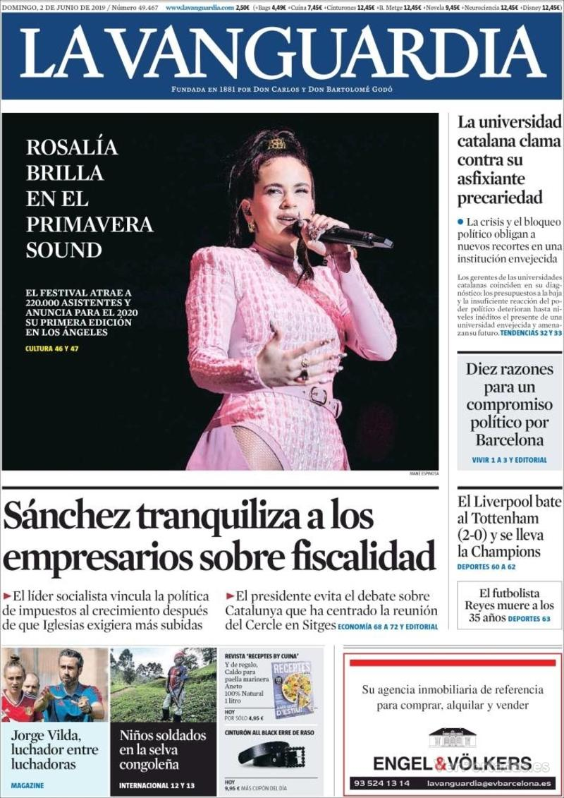 Portada La Vanguardia 2019-06-03