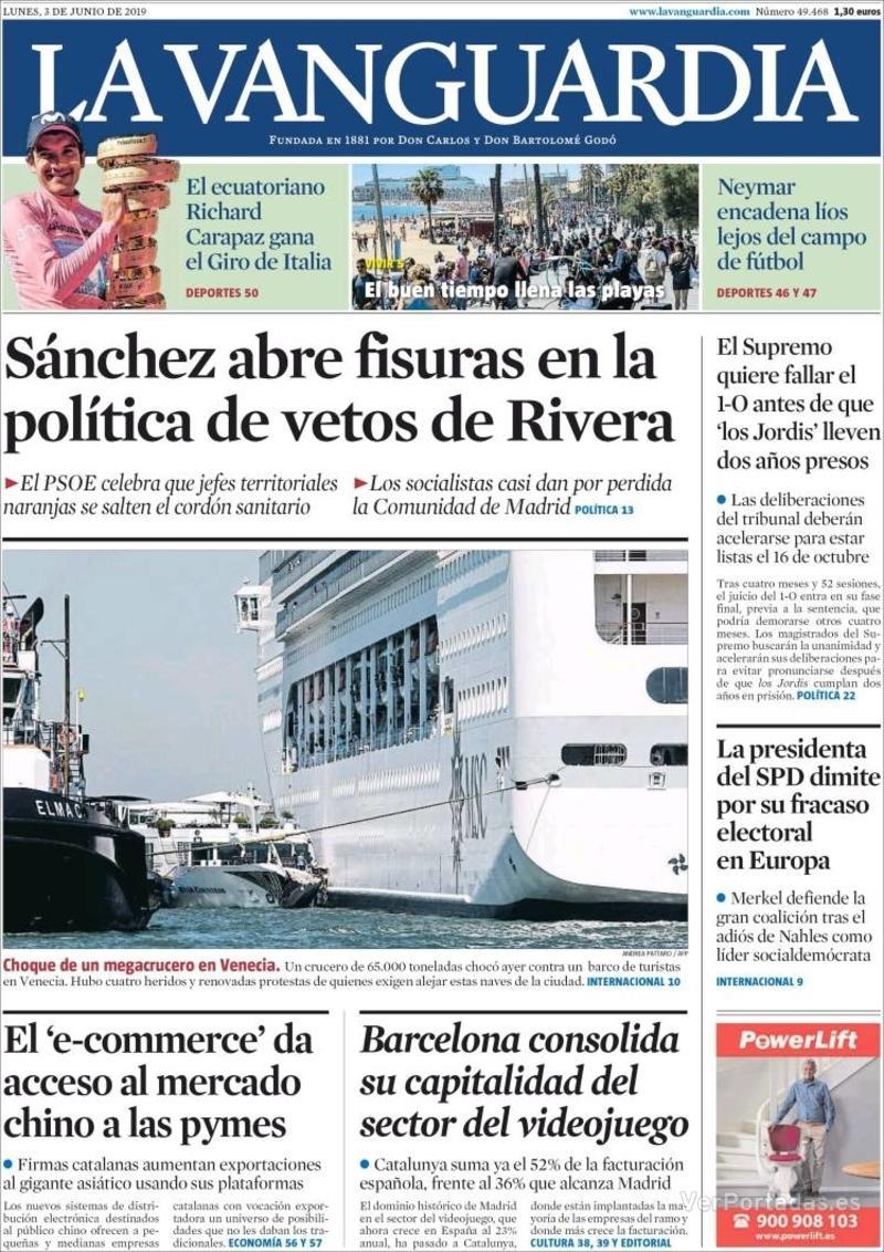 Portada La Vanguardia 2019-06-04