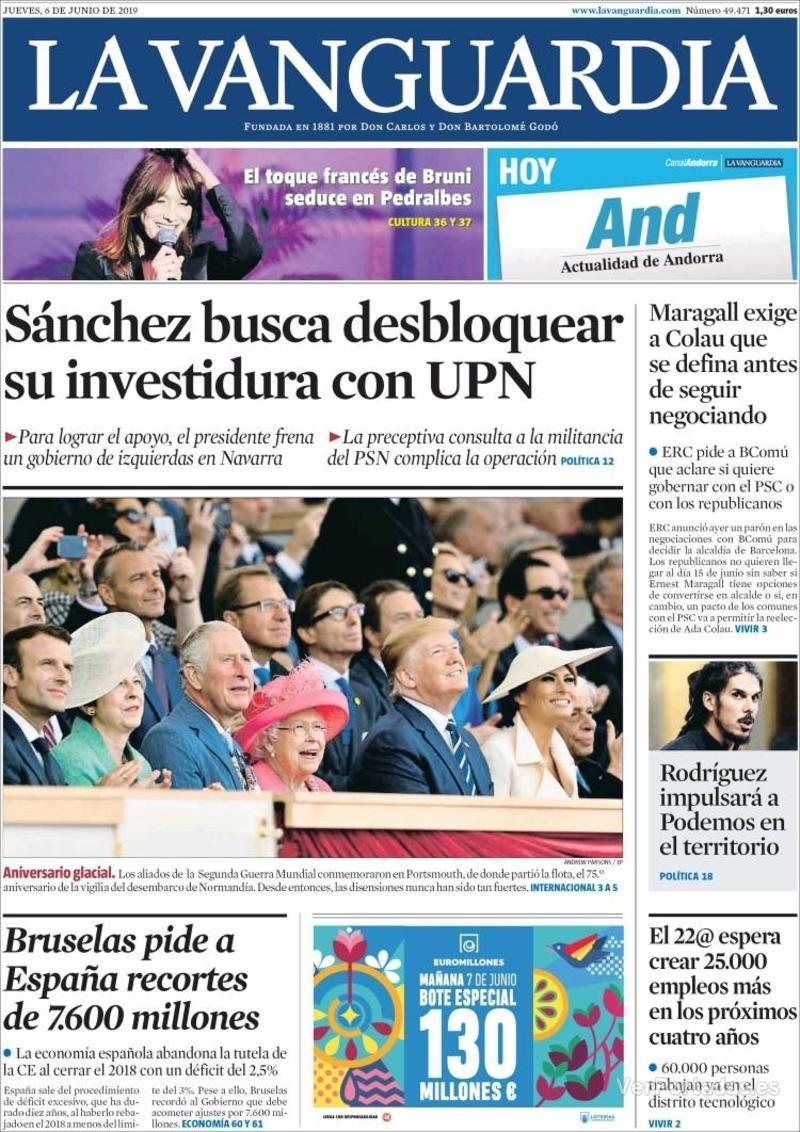 Portada La Vanguardia 2019-06-07