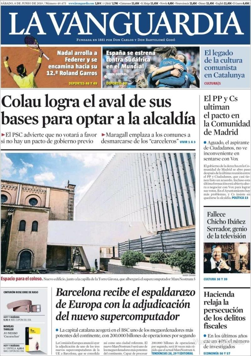 Portada La Vanguardia 2019-06-09
