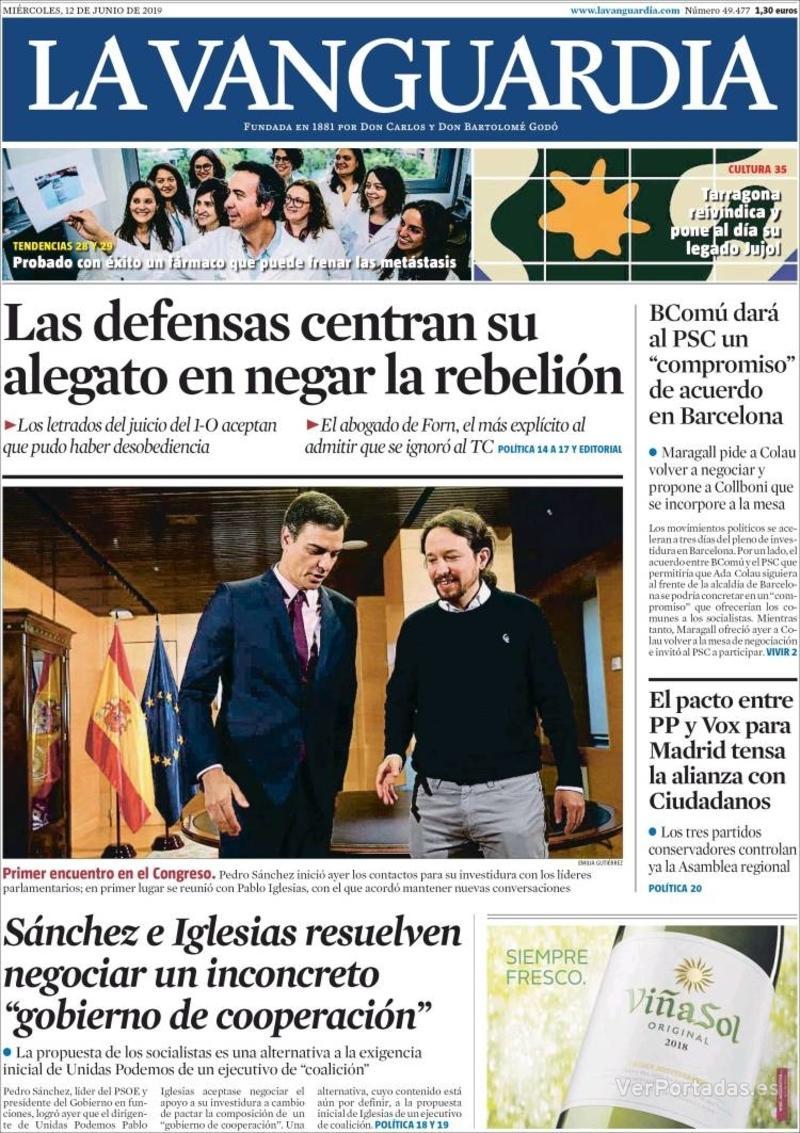 Portada La Vanguardia 2019-06-13