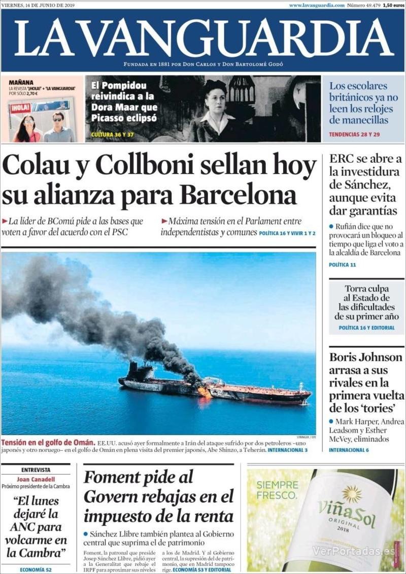 Portada La Vanguardia 2019-06-15