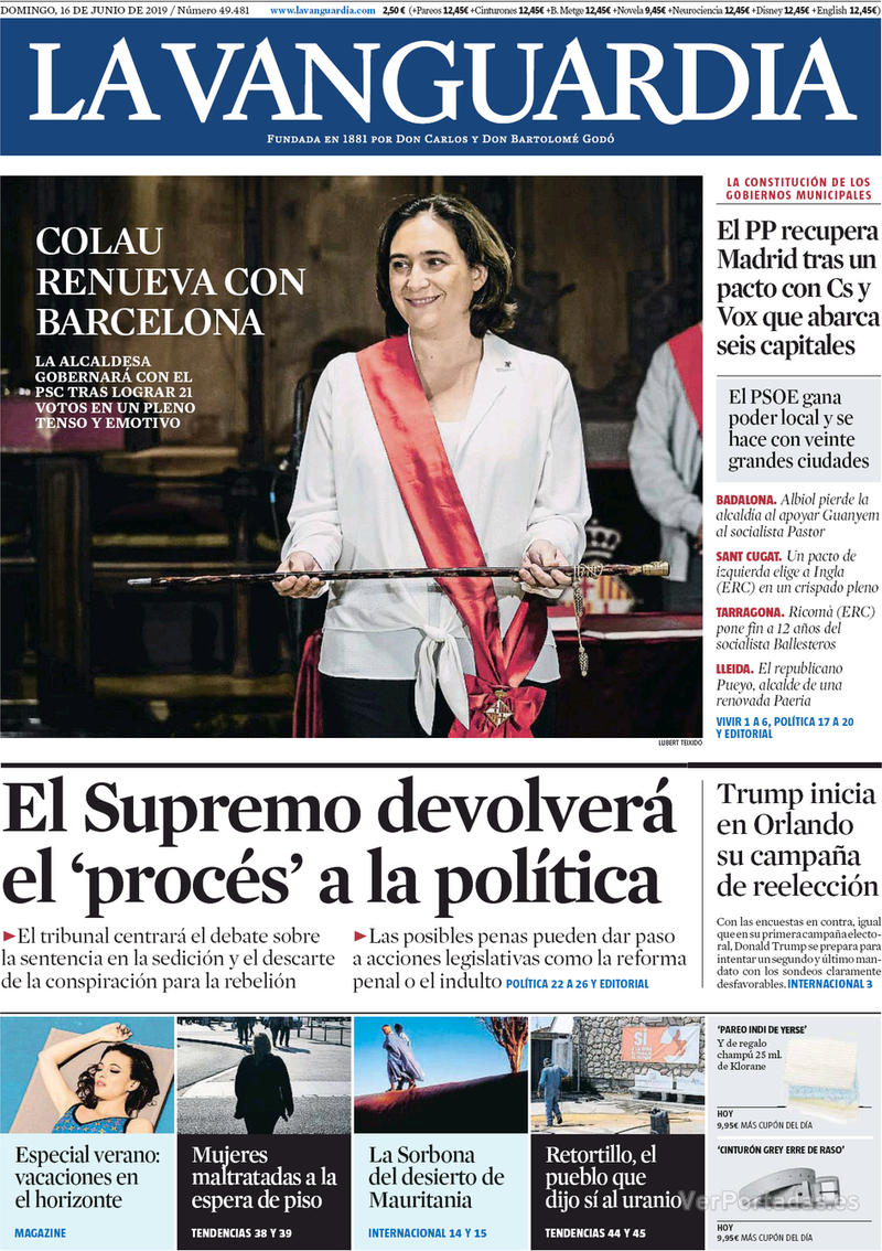 Portada La Vanguardia 2019-06-17
