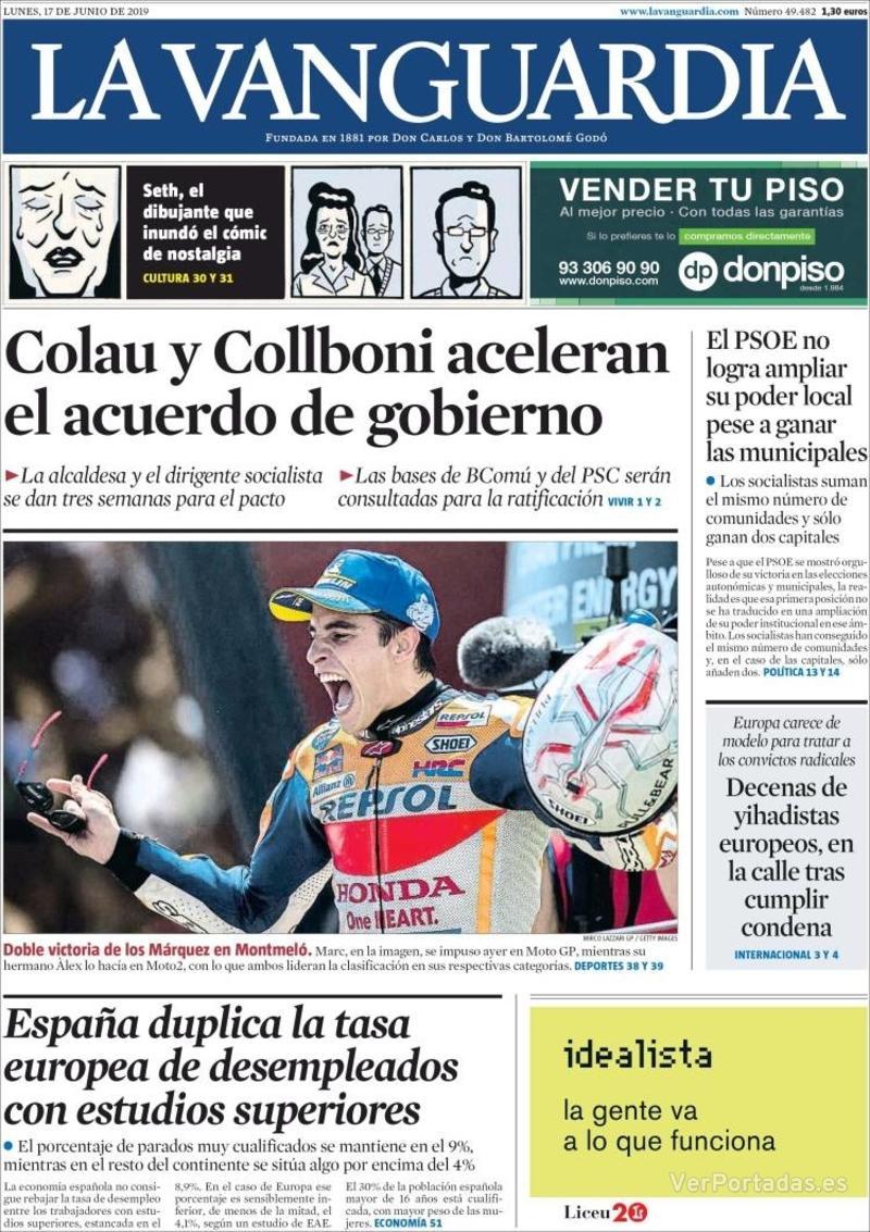 Portada La Vanguardia 2019-06-18