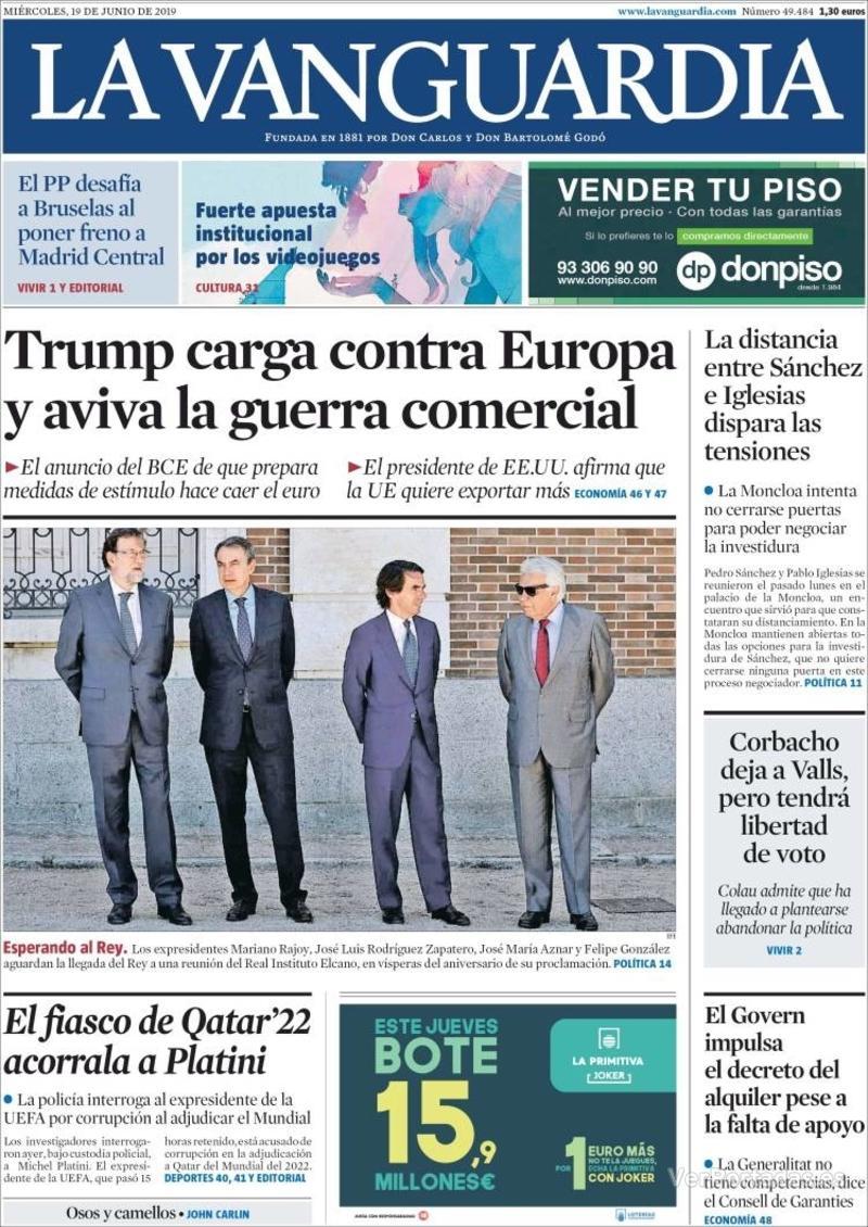 Portada La Vanguardia 2019-06-20