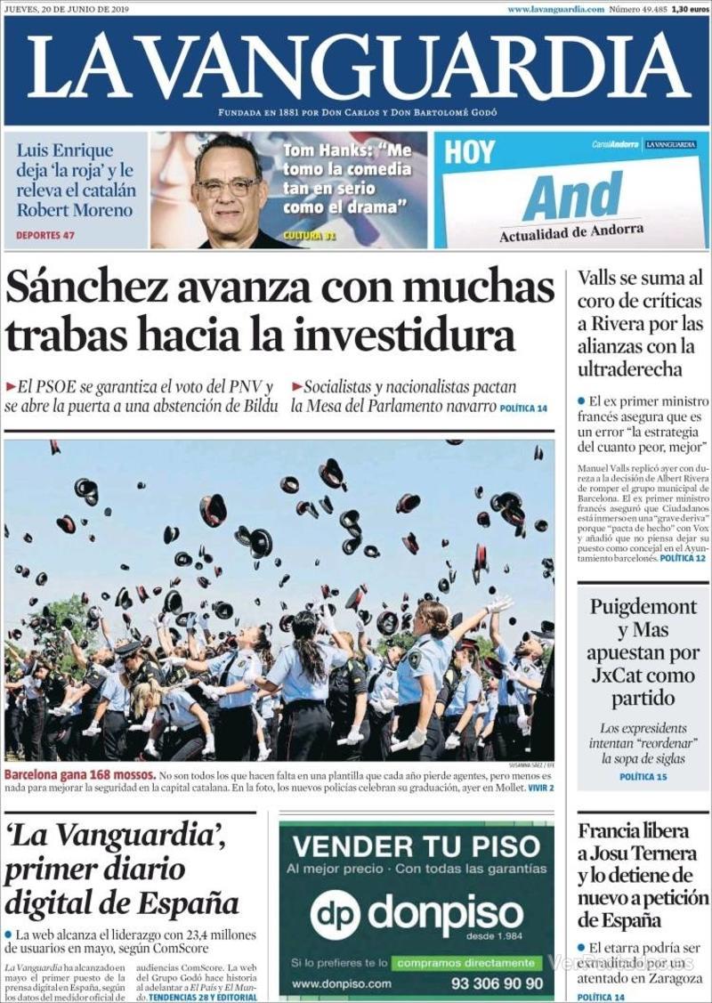Portada La Vanguardia 2019-06-21