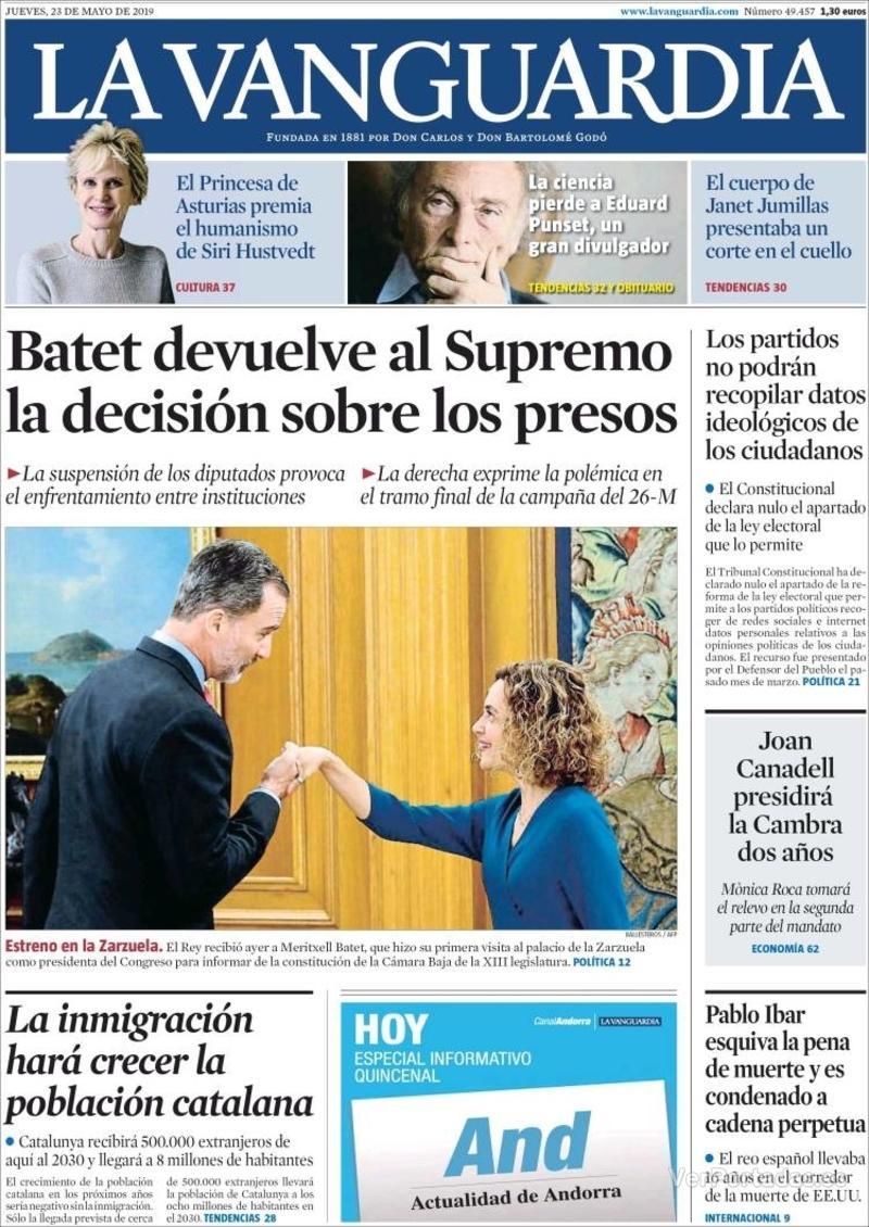 Portada La Vanguardia 2019-05-24