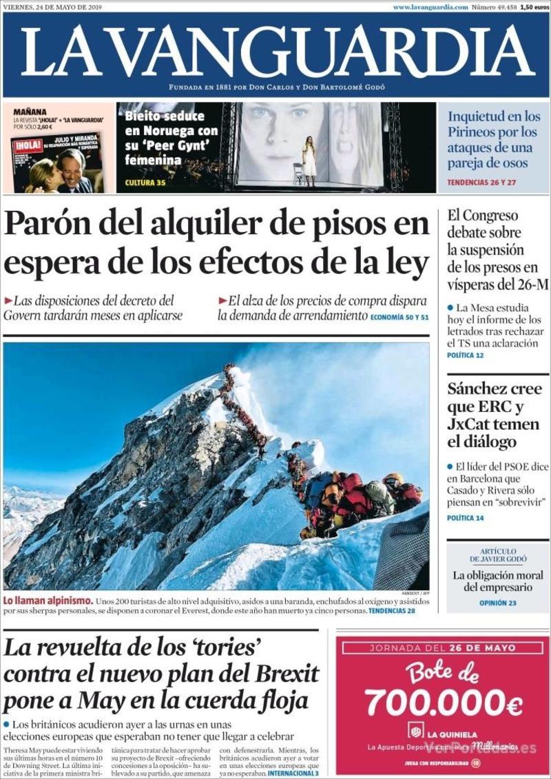 Portada La Vanguardia 2019-05-25
