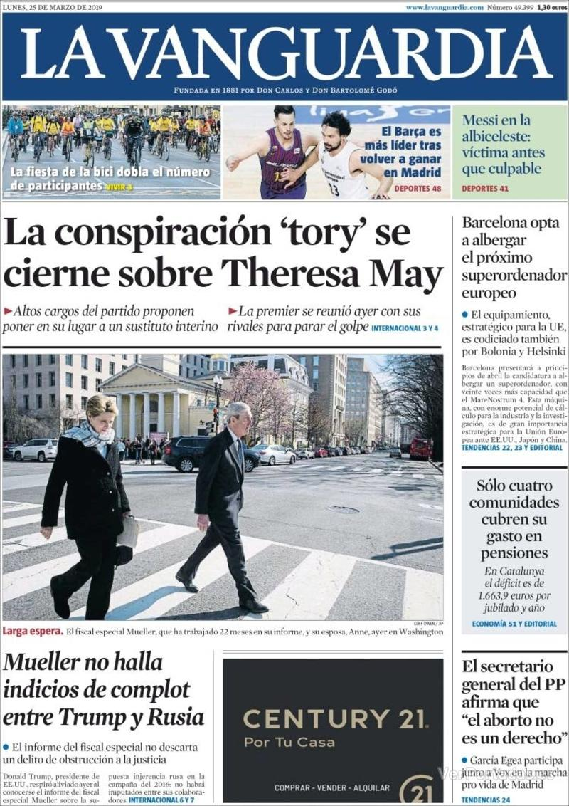 Portada La Vanguardia 2019-03-25