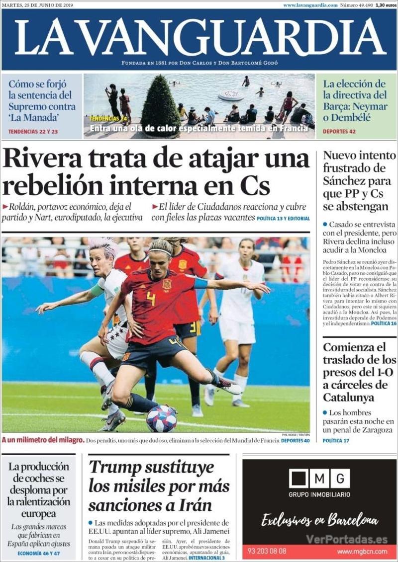 Portada La Vanguardia 2019-06-26